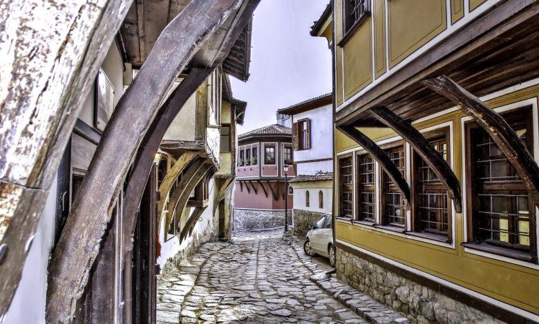 Къщи в старинен стил в старата част на Пловдив